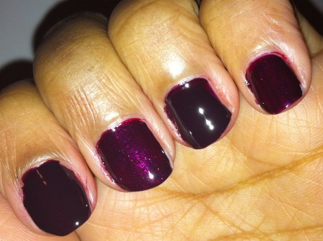 Index and Ring: Evening Seduction; Middle and Pinky: Black Cherry Chutney